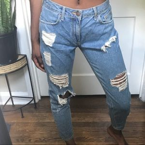 forever 21 cropped light blue jeans